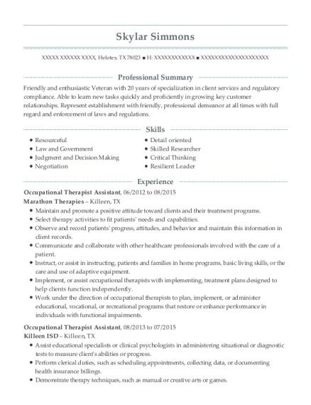 Occupational Therapist Assistant resume format Texas