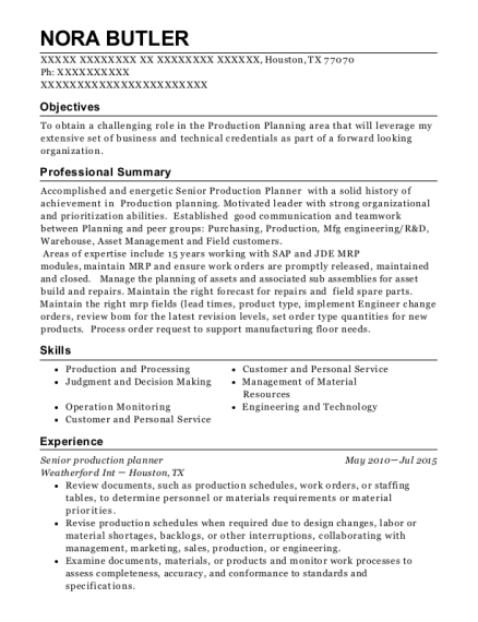 cymer an asml company senior production planner resume