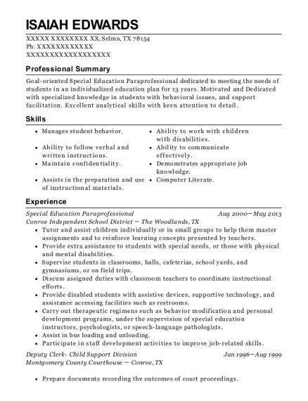 Special Education Paraprofessional resume format Texas
