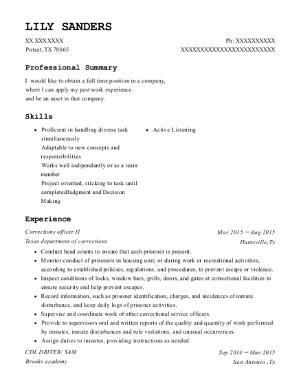 Corrections officer II resume example Texas