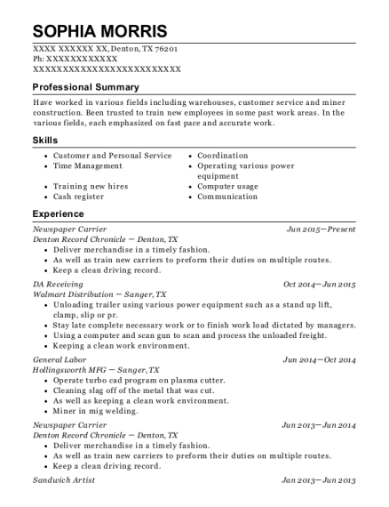 Newspaper Carrier resume example Texas