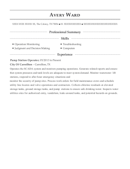 Pump Station Operator resume template Texas