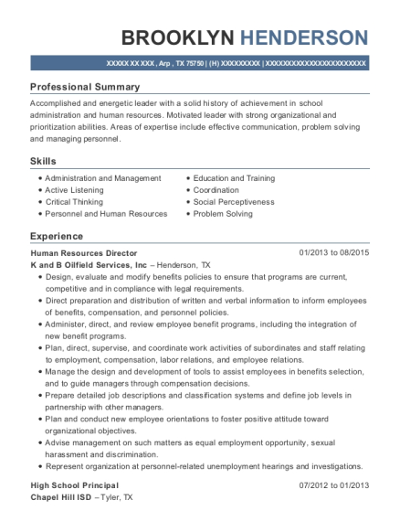 Human Resources Director resume template Texas