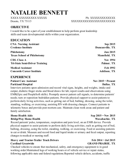 Patient Care Assistant resume example Texas