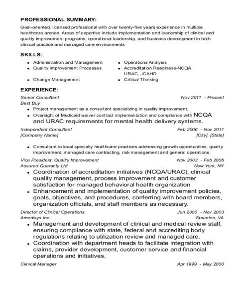 Senior Consultant resume example Texas