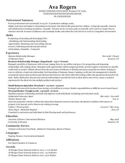 Business Relationship Manager resume format Texas