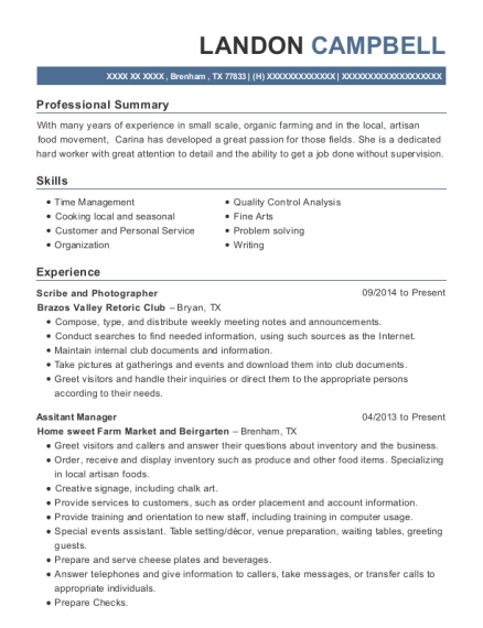 Scribe and Photographer resume format Texas