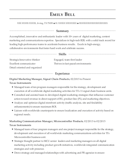 Digital Marketing Manager resume template Texas