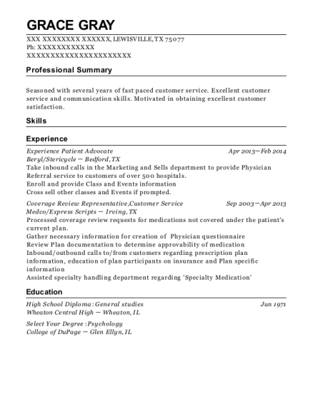 Experience Patient Advocate resume sample Texas