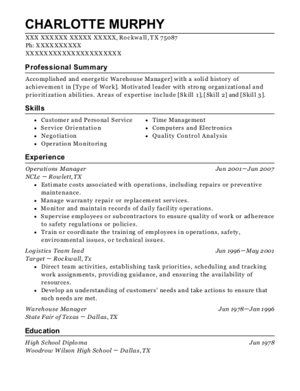 Operations Manager resume format Texas