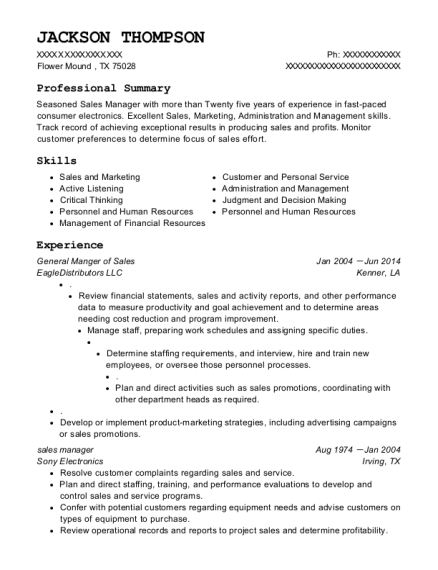 General Manger of Sales resume example Texas