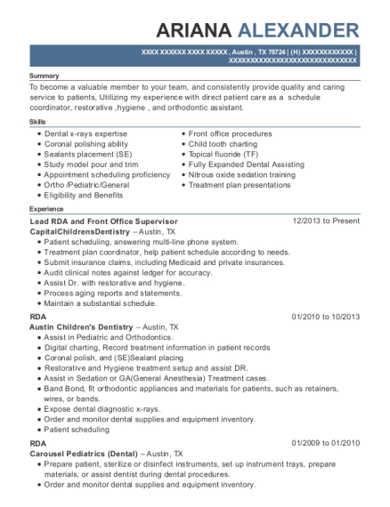 Lead RDA and Front Office Supervisor resume example Texas