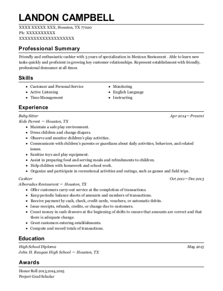 Baby Sitter resume example Texas