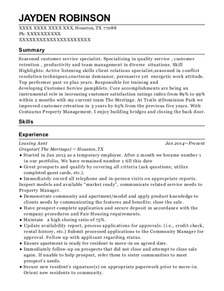 Leasing Aent resume template Texas