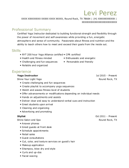Yoga Instructor resume sample Texas