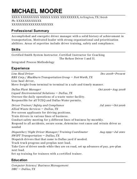 Line Haul Driver resume template Texas