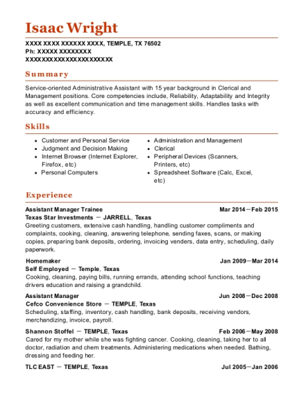 Assistant Manager Trainee resume example Texas