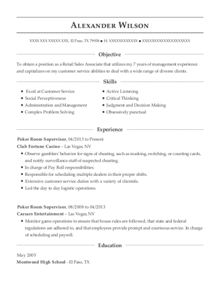 Poker Room Supervisor resume format Texas
