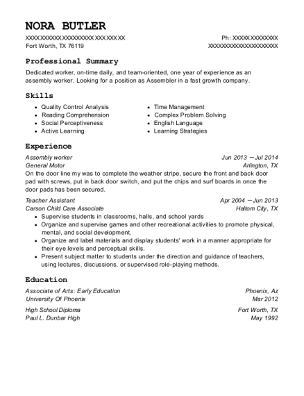 Assembly worker resume example Texas