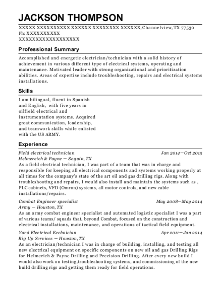 Field electrical technician resume example Texas