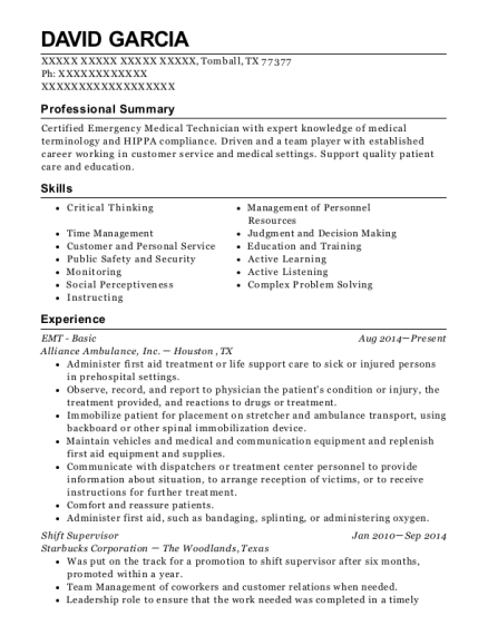 EMT Basic resume sample Texas