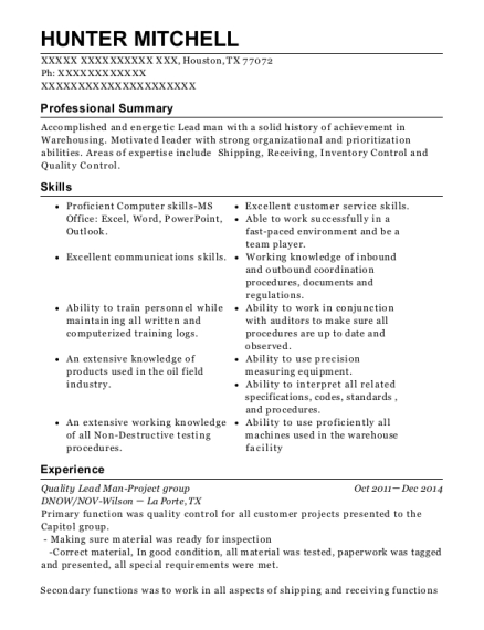 Quality Lead Man Project group resume sample Texas