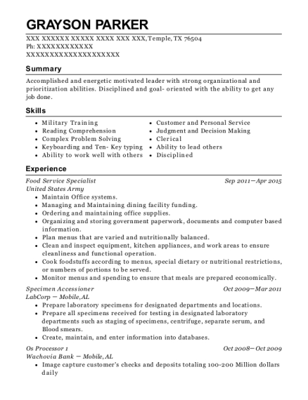 Food Service Specialist resume example Texas