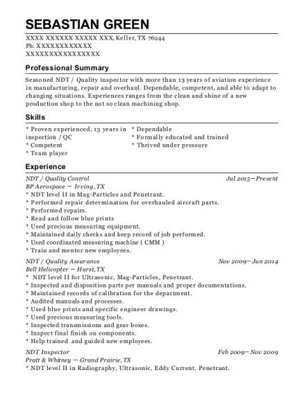 NDT resume format Texas