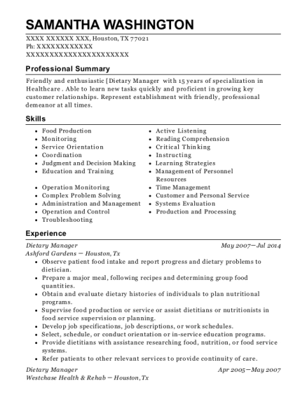 Dietary Manager resume sample Texas