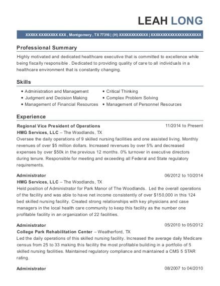 Regional Vice President of Operations resume sample Texas