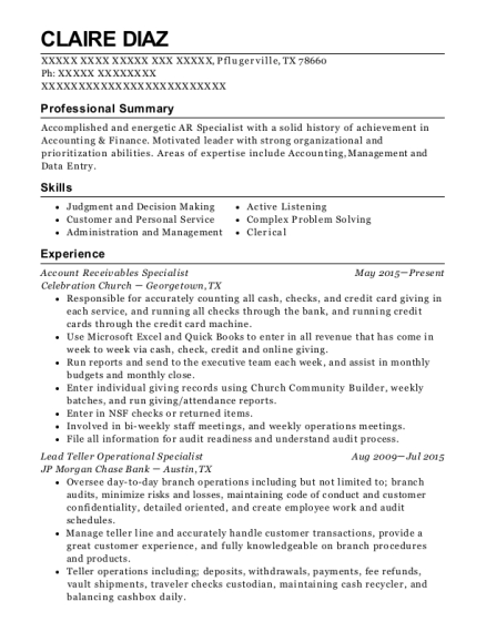 Account Receivables Specialist resume sample Texas