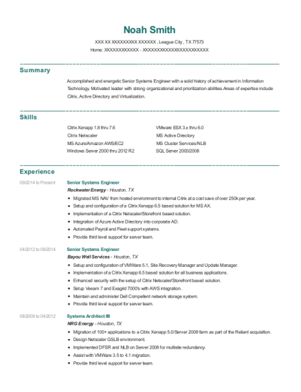 Senior Systems Engineer resume format Texas