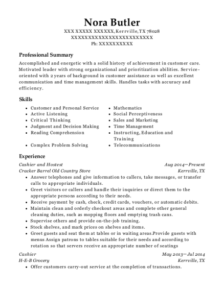 Cashier and Hostest resume template Texas