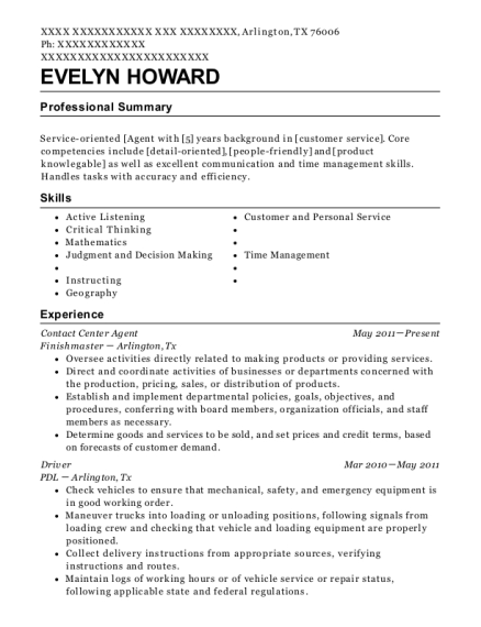 Contact Center Agent resume example Texas