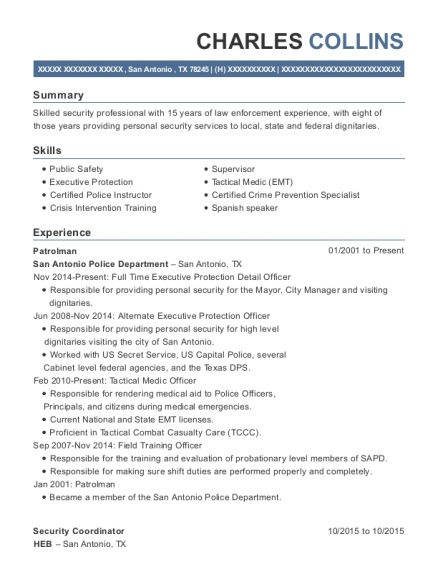 Patrolman resume example Texas