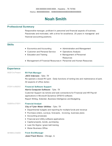 RV Park Manager resume format Texas