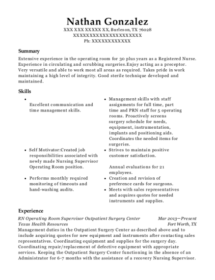 RN Operating Room Supervisor Outpatient Surgery Center resume sample Texas