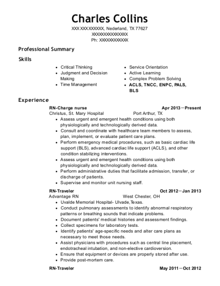 RN Charge nurse resume template Texas