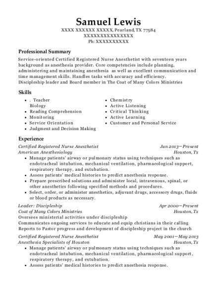 Certified Registered Nurse Anesthetist resume format Texas