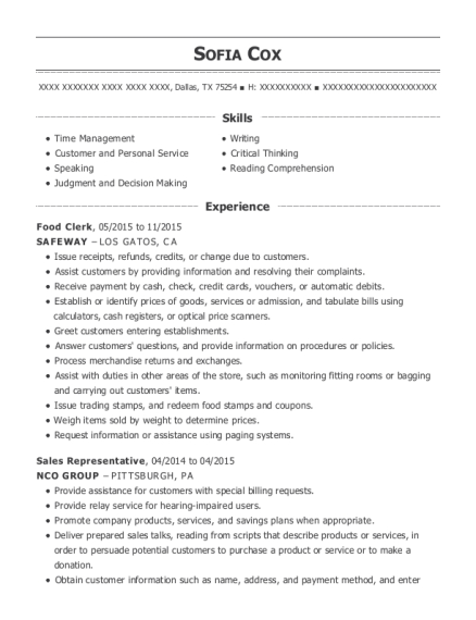Food Clerk resume sample Texas