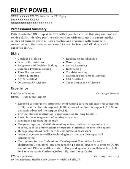 Registered Nurses resume example Texas