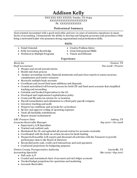 Staff Accountant resume example Texas