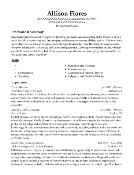 Youth Minister resume format Texas
