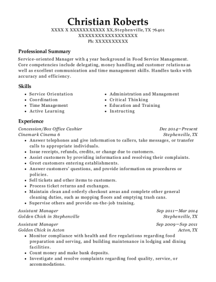 Concession resume format Texas