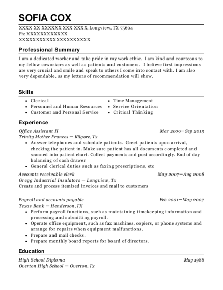 Office Assistant II resume format Texas