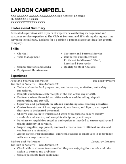 Food and Beverage supervisor resume sample Texas