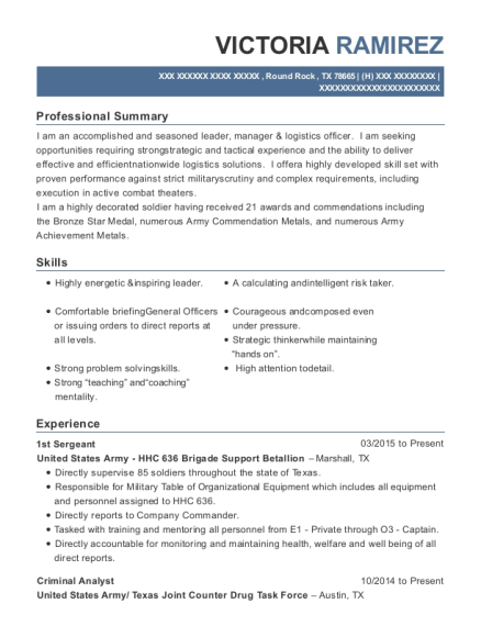 1st Sergeant resume sample Texas