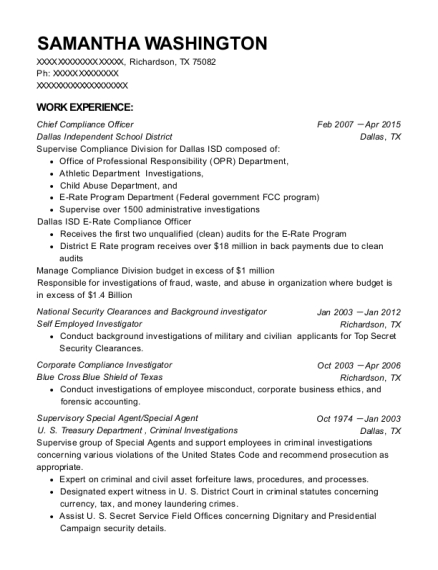 Chief Compliance Officer resume format Texas