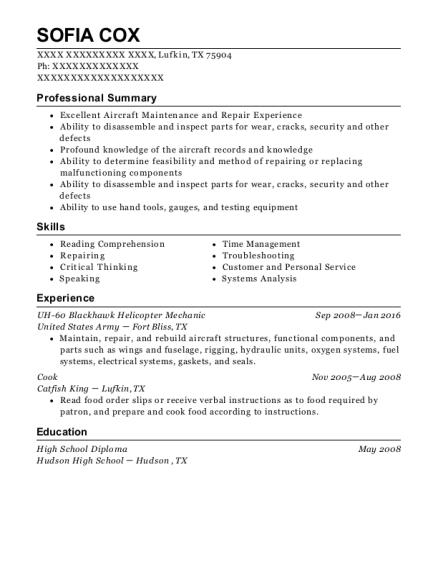 UH 60 Blackhawk Helicopter Mechanic resume format Texas