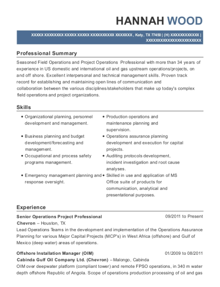 Senior Operations Project Professional resume template Texas